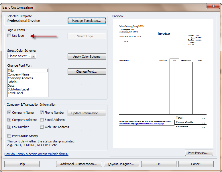 how to change an invoice from pending in quickbooks